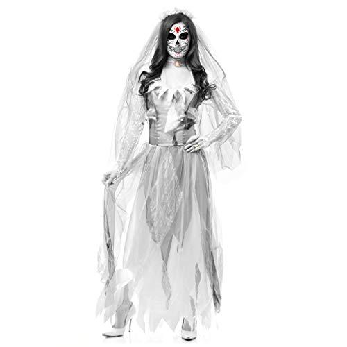 Gespenstische Kostüm Braut Sexy - RENYAFEI Halloween Kostüm Horror Ghost Braut Kostüm Für Halloween Fasching Karneval (Es Enthält Einen Rock Und Schleier Neckwear),L