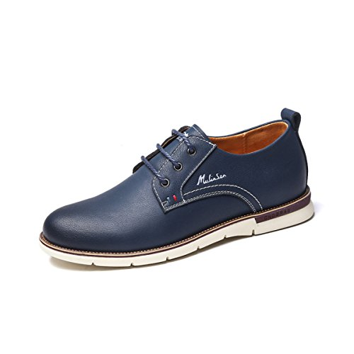 Scarpe in pelle da uomo primavera estate nero blu marrone moda confortevole low top casual formale derby oxford mocassini in pizzo scarpe da lavoro,blue-26.5(cm)=10.43(inch)=eu42=7.5uk=label(43)