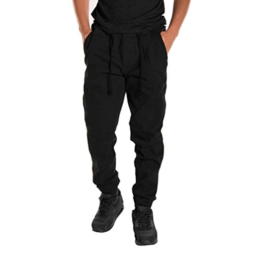 Pantalones de hombre Pantalones deportivos Pantalones casuales Elástico Suelto Pantalones de Hip Hop Talla extra Ropa de deporte Pantalones anchos Mono LMMVP (M, Negro)