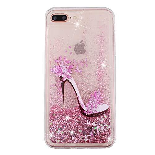 iPhone 7 Plus Hülle, iPhone 8 Plus Glitzerhülle, Universal Anti-Drop schwimmender Sand und Flüssig-Silikonhülle für iPhone 7/8 Plus 5.5inch High Heels
