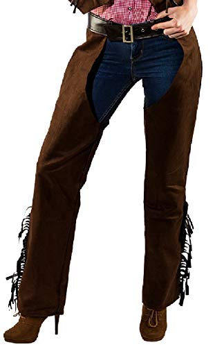 narrenkiste O9760-40-42 braun Damen Cowboy Cowgirl Chaps Wildlederimitat Gr.40-42