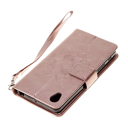 Mokyo Sony Xperia XA Hülle mit Frei Bildschirmschutz,Premium Flip Karte Halterung PU Leder Brieftasche Prägung Mandala Muster mit Kartenfächer Magnetverschluss Stand-Funktion Beschützer Handy Schutzhü Rose Gold