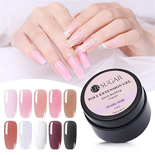 UR SUGAR 15ml Poly Quick Gel Nail Extension Acryl Nagellack Adhesive Builder Quick Building Acryl-Gel Nägel Modellage System 10pcs Kit - Gel-acryl-kit