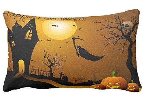 (Home verbesserung Kissenbezug Fliegen Sensenmann Orange k¨¹rbisse gl¨¹cklich Halloween-Karte Design f¨¹r Sofa und Auto Kissenbezug 1 Paket)