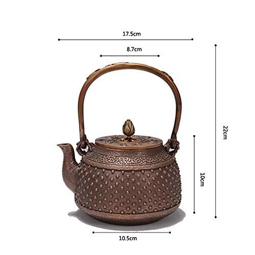 Mfun-CH Japanischer Kupfertopf Reiner Kupferkessel Hand Tee Set Dicken Guss Kupfer Teekanne, Keine Beschichtung 1,2 L