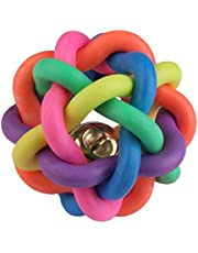 Pets Empire Woven Rubber Balls with Inner Bell for Dog Cat Pet (Colourful Squeaky Rainbow)