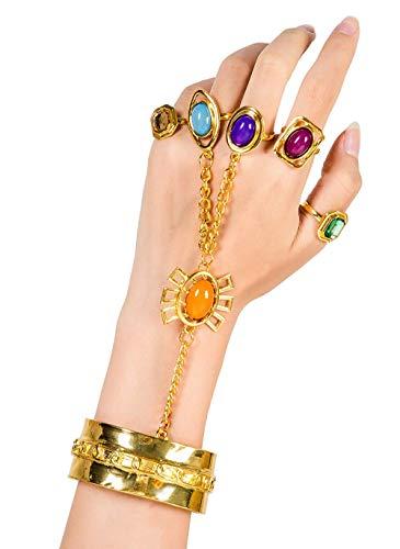 and Infinity Edelsteine Kostüm Cosplay Erwachsene Schmuck Goldkette mit Power Stone Finger Ringe Halloween Kostüm Kleidung Zubehör für Damen ()