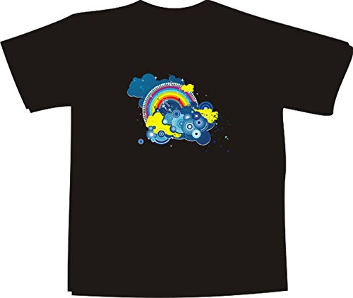 T-Shirt E520 Schönes T-Shirt mit farbigem Brustaufdruck - Logo / Grafik - minimalistisches Design - Retro Motiv / verzierte Wolken mit rundem Regenbogen Weiß