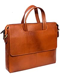 """Stylish 15""""Genuine Pure Leather Laptop Sleeve Messenger Office Bag With Shoulder Strap By-Widnes"""