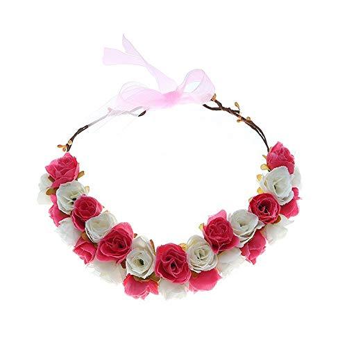 MELLRO Cocktail Haarband Hochzeit Urlaub Party Doppeldecker Rose handgemachte Blumen Stirnband Garland Kranz Krone Kopfschmuck (Farbe : Rose rot)