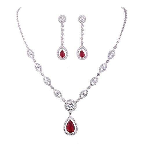 GULICX Zirkonia CZ Rubin Farbe Silber-Ton Mode Ohrringe und Halskette und Anhänger Schmucksets (Mode Ohrring Und Halskette Set)