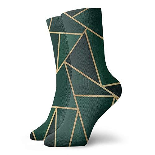 Casual Crew Socken, Grün & Gold, Gemustert, Knöchelsocken, kurz, Kompressionssocken für Damen und Herren, 30 cm