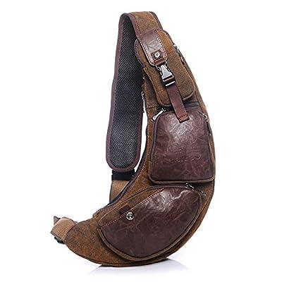 Outreo Homme Sac bandoulière Sac de Voyage Vintage Chest Bag Sac Porté épaule en Cuir Sport Sacoche Besace messager Rétro Bourse pour Outdoor Toile