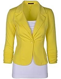 CHENGYANG Chaqueta de traje de negocios Uno botones Manga 3/4 Blazers Abrigo para mujer