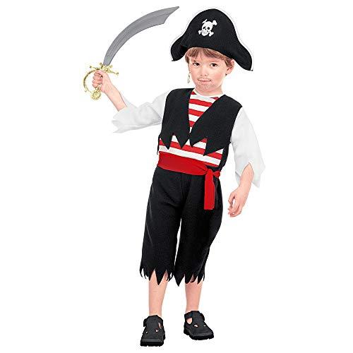 indkostüm Pirat, Jungen, Schwarz/Rot/Weiß ()