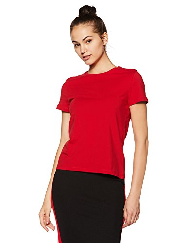 Amazon Brand - Symbol Women's Plain Regular Fit T-Shirt (Pack of 2) (RN-PO2-COMBO1-Black & Red-S)