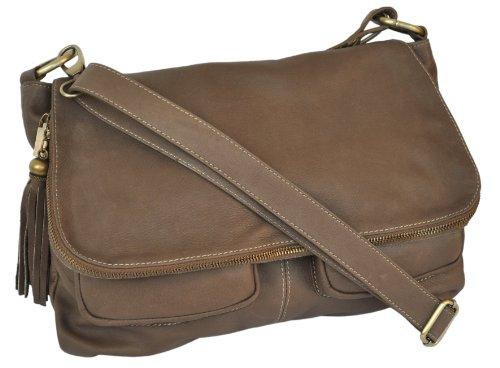 Lae In–Tasche Typ Gibecière (Weaving oder Schulterriemen)–Rindsleder–made in Italy–Taupe Beige - Taupe