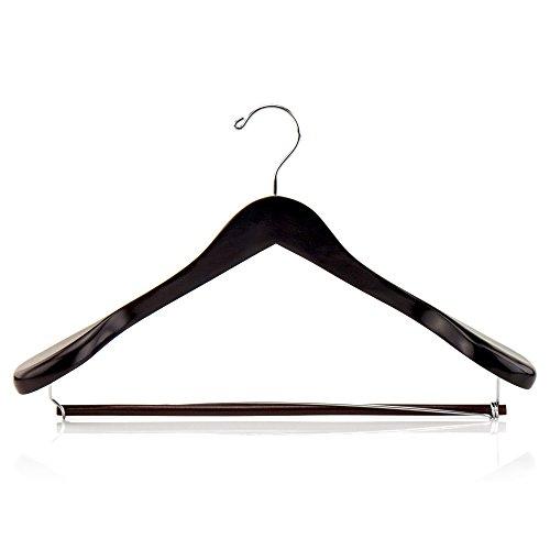 Hangerworld - 5 Stück Premium Mahagoni Kleiderbügel mit sperrbarem Hosensteg und extra breiten Schultern 45cm (Mahagoni-kleiderbügel)