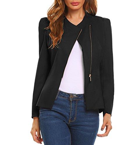 Meaneor Damen Suit Blazer Langarm Schräger V-Ausschnitt Business Anzug Freizeit Blazer mit Reißverschluss, Schwarz, Gr. S (Polyester-freizeit-anzug-jacke)