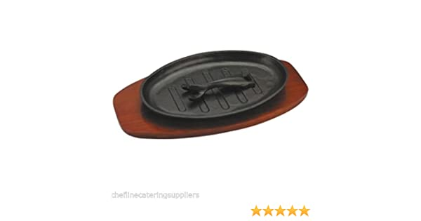 """Veg Pub Starter 11/""""x 7 /"""" Cast Iron Sizzler Platter for Food Mixed Grill Meat"""