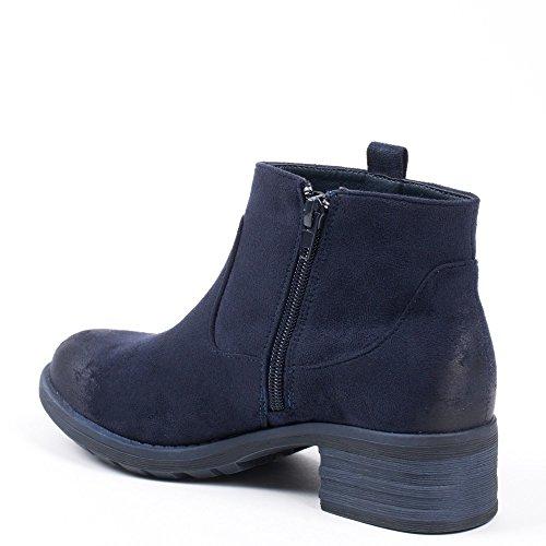 Ideal Shoes, Damen Stiefel & Stiefeletten Marine ...