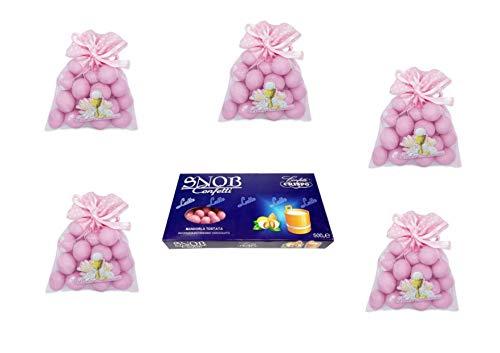 24 Tüten aus Tüll Prima Kommunion Rosa 1 kg Konfetti Rosa ADDOBBI Tisch FESTA - Kit Cdc- (24 Beutel + 1 kg Konfetti mit Mandel)