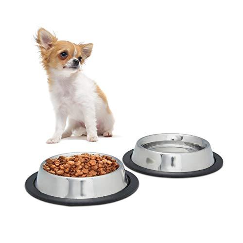 Relaxdays 10023458_112 2er Napfset Hund, Hundenapf, für Wasser, Futternapf, rutschfest, rostfrei, Edelstahlnapf Größe S, 200 ml, Silber -