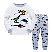 Boys Pyjamas Set Dinosaur Glow in The Dark Toddler Clothes Kids Pjs 100% Cotton Nightwear Long Sleeve Sleepwear 2 Piece Outfit 1 to 10 Years