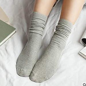 Oyamihin Herbst-Winterweinlese-mittlere Mädchenfrauen-Socken Breathable Art und Weise beiläufige Reine Farben-Baumwollmittelsocken