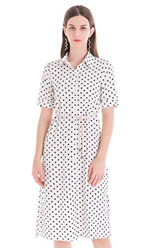 Polka Dot One Piece (Damen Sommer Blusenkleid Boho Hemd Kleider Knöpfe Blumen Polka Kurzarm Knielang Shirt Kleid Casual Onepiece Strand,Polka Dot,36)