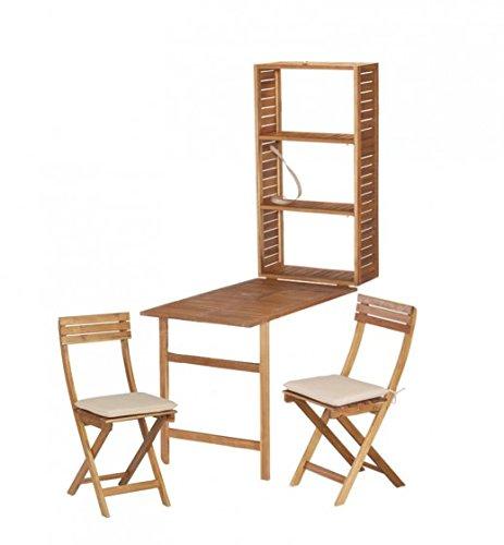 Wandschrank, Balkonset, Tischgruppe SERENA, Akazie FSC, Wandregal mit Tisch und 2 Klappstühle