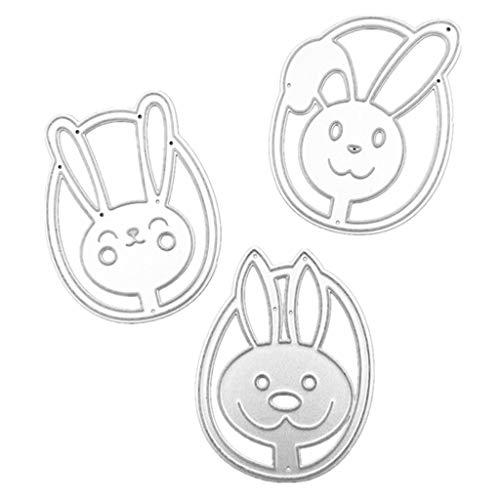 Lisanl - Set di 3 fustelle in acciaio al carbonio con conigli pasquali per goffratura, stencil per carta, fai da te, artigianato, scrapbook, biglietti, decorazioni