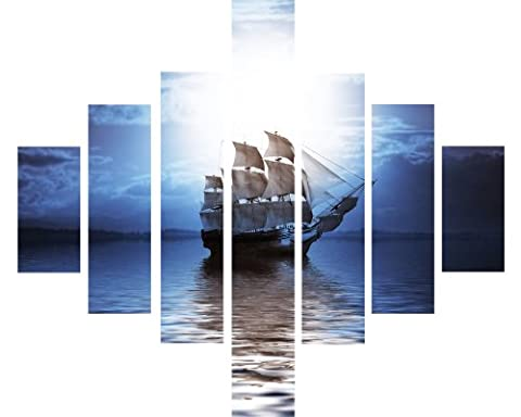 7 Panel Multi Split Panel Canvas Artwork Picture - Mysterious Old Sailing Boat In Bright Moonlight Ocean Sea Pirate ship - 115cm x 95cm - Hanging Kit Included - Mounted Onto Wooden Frames - Ready to