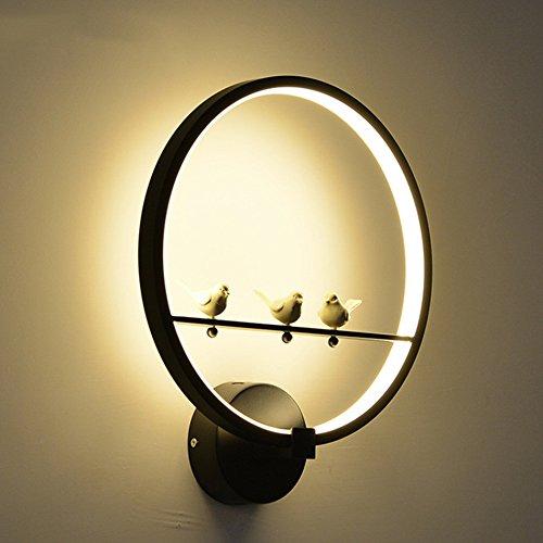 fixé au mur 18 W LED Applique Moderne Creative Chambre À Côté Mur Lumière Intérieur Salon Salle À Manger Couloir Éclairage Décoration (Couleur : Noir-Lumière chaude)