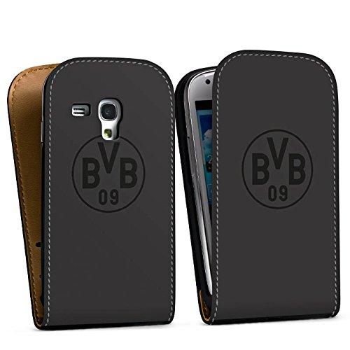 DeinDesign Tasche kompatibel mit Samsung Galaxy S3 Mini Flip Case Hülle Borussia Dortmund BVB Logo Grau Logo Samsung S3 Case