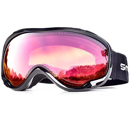 SnowledgeSkibrilleDamen& Herren SkiGogglesUV400 Schutz Doppelscheibe Anti-BeschlagHelmkompatiblefür Brillenträger (B-Rose red)