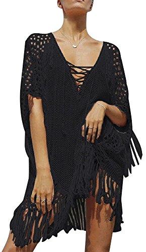 Walant Damen Sommer Gestrickt Strand Bademode Bikini Cover Up Crochet Kurze Kleider Tops Bluse Sweatshirt mit Quasten (Top Crochet Bikini)