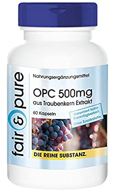 OPC 500mg from Grapeseed Extract - Oligomeric Proanthocyanidins - In Pure Form - No Additives or Excipients - 60 Vegetarian Capsules from fair & pure