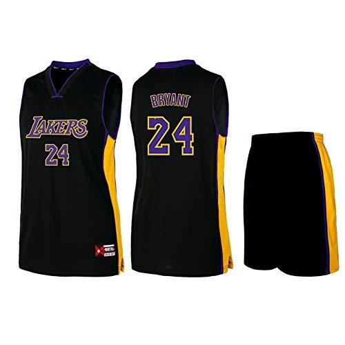 # 24 Kobe Bryant Los Herren Basketball Jersey-Unisex Ärmelloses T-Shirt Trainingsanzug Kinder Sweatshirt Stickerei Trainingsanzug Set S-5XL Familie-Black-XXXXL