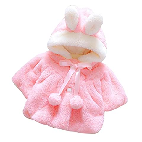 Kolylong Baby Infant Girls Cute Cartoon Rabbit Winter Warm Hoodies Coat Jacket Thick Warm Clothes (6M, Watermelon Red)