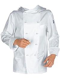 Chaqueta casaca de cocinero de algodón blanca con botones, uniforme clásico, de XS a XXL, bianco, S