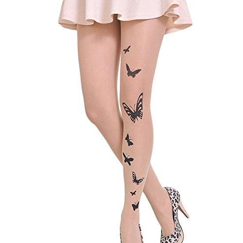 Neue Schmetterlings-mädchen-strumpfhose (Qingsun Damen StrumpfhosenDie neue Stempel Tattoo Strümpfe Strumpfhosen (Schmetterlinge))