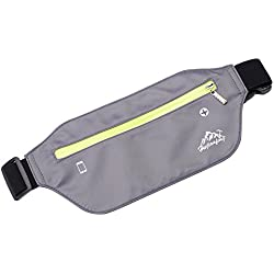 Dream - Cinturón para correr con riñonera, cinturón de fitness, agujero para auriculares, tela suave resistente al sudor y correa elástica ajustable, ajuste perfecto para curva de cintura, super cómodo y conveniente para correr y otros al aire libre, gris