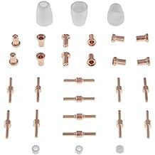 Stamos Germany - Kit de piezas de recambio CUT 30, 40 y 50 (mediano) - Cortador plasma - Electrodos - Boquillas de cerámica - Anillos de cerámica - Boquillas de corte