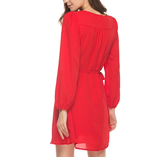 Donne Chiffon V Collo Profondo Vestito Tunica Cintura Abito A Maniche Lunghe Rosso Red