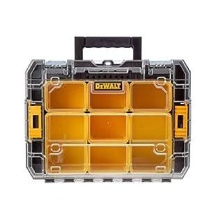 DeWalt Tstak V Organizer / stapelbare Werkzeugbox (mit transparentem Deckel, zwei großen und fünf kleinen herausnehmbaren Insetboxen, kombinierbar mit anderen Tstak-Boxen), DWST-71194