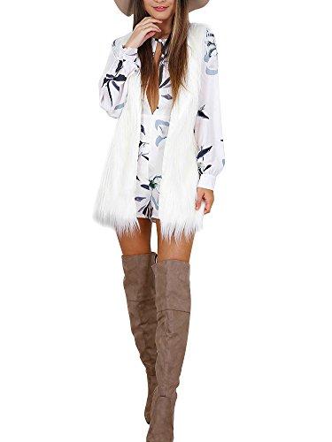 Simplee Apparel Damen Winter Elegant Warm Ärmellos Fell Weste Kunstfell Schwarz Weiß Grau Weiß
