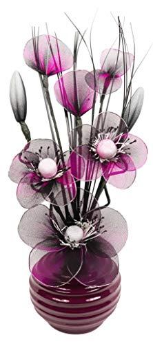 Prune Artificielle Fleurie avec Vase Violet, décoration, Accessoires et décoration pour Salle de Bain, Chambre à Coucher ou Cuisine 32 cm