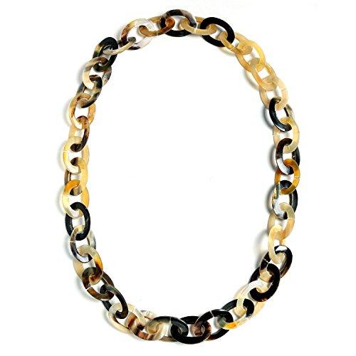 Bling Jewelry Erde Ton braun Handarbeit natürliche Buffalo Horn Langen ovalen Kette Halskette für...