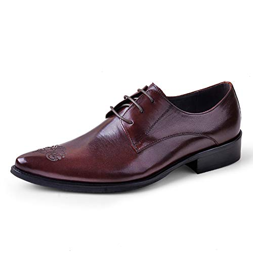 MYXUAA Herren Schnürschuhe Oxford Geschnitzt Spitzkopf Business Schuhe Herrenschuhe für Bankettparty-red-EU39/US7.5/UK6.5 -